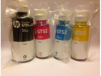 HP pn: Z6Z97-60001 Оригинальные чернила HP HP GT52 и HP GT51 M0H54A, M0H55A, M0H56A, 1VU32A набор 4 цвета
